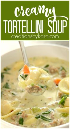 Creamy Sausage Tortellini Soup - this hearty soup is loaded with tasty ingredients! Your family will love this creamy tortellini soup! #soup #tortellini #sausage #tortellinisoup #sausagesoup #creamytortellinisoup -from creationsbykara.com Yummy Pasta Recipes, Easy Soup Recipes, Entree Recipes, Simple Recipes, Grilling Recipes, Dinner Recipes, Easy Summer Meals, Quick Healthy Meals, Weeknight Dinners