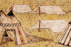Zelt 15. Jh A mix of tent types in a medieval manuscript, round pavilion and low a-frame tents to cover supplies likely.