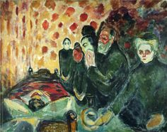 Edvard Munch (Norwegian 1863–1944) [Expressionism, Symbolism] By the Deathbed (Fever) I, 1915.