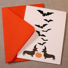 Happy Halloweener - Dachshund greeting card, Pack of 5