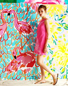 would love to have a room painted like a  Lilly Pulitzer print
