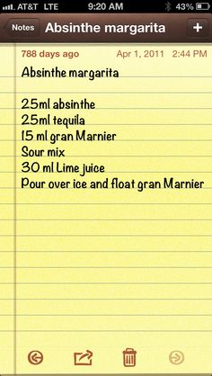 Absinthe margarita, NOT my recipe, and I'd substitute the sour mix for agave syrup, but this looks interesting! :D