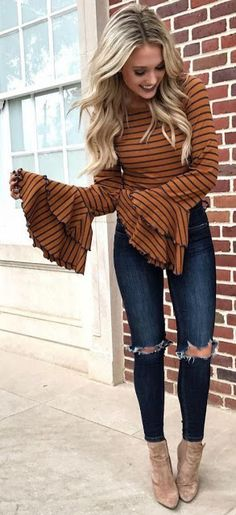 Fall fashion 2018 · orange and black striped trumpet-sleeve dress black jeans outfit winter Winter Outfits For Teen Girls, Cute Girl Outfits, Cute Winter Outfits, Casual Fall Outfits, Outfit Winter, Trendy Outfits, Outfit Summer, Dress Winter, Casual Jeans