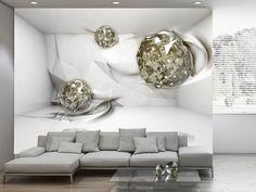 Papier peint - Abstract Diamonds - 350 x 245 cm - 3d Wallpaper Decor, 3d Wallpaper For Walls, Photo Wallpaper, Living Furniture, Home Furniture, White Room Decor, Room Interior Design, Paint Designs, Wall Design