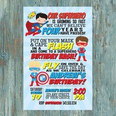 Superhero Birthday Party Invitation by shortyitsurbirthday on Etsy