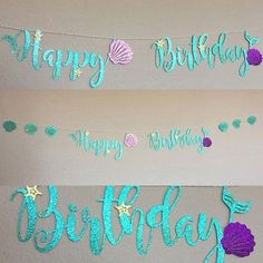 Blue Mermaid Happy Birthday Bunting Banner Decoration for Birthday Party Supplie