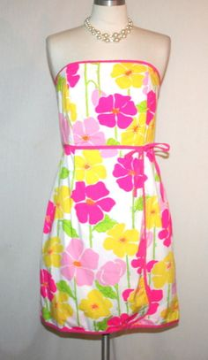 Lilly Pulitzer Strapless Yellow Pink Floral Faux Wrap Dress Sz 10 #LillyPulitzer #FauxWrap