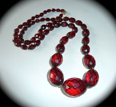 Antique Victorian Faceted Cherry Amber Bead Necklace