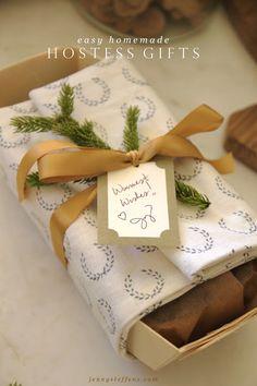 Easy Homemade Hostess Gift idea - Pumpkin Bread & Honey Butter wrapped in a tea towel.