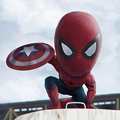 Fan art of the Spider-man appearance in Marvel& Captain America Civil War Chibi Spiderman, Baby Spiderman, Chibi Marvel, Avengers Cartoon, Marvel Cartoons, Amazing Spiderman, Marvel Memes, Marvel Dc Comics, Avengers Series