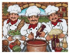 Three Happy Chefs Arte por Janet Kruskamp en AllPosters.com.mx