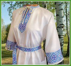 Одежда ручной работы. Ярмарка Мастеров - ручная работа. Купить Женская рубаха Сварга. Handmade. Белый, ярга