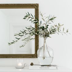 Super excited about today's post! We were inspired to curate a gallery after trying to decide on the perfect art piece for this space in… Vase With Branches, Olive Branches, Dragons, Branch Centerpieces, Living Room Decor, Bedroom Decor, Branch Decor, Master Bedroom Makeover, House Rooms