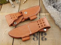 Knife Accessories :: Sheaths & Carry Accessories :: Bark River Knives Sheaths :: Bark River Knives: Bark River Knives STS 3, ESEE Knives 3 & Fallkniven F1 Brown Leather Sheath, Right Hand
