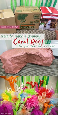 How to Make a Coral Reef Decoration - by Press Print Party! How to Make a Stunning Coral Reef for your Under the Sea Party, Mermaid Party, or VBS. By Press Print Party Decorations for Ocean Commotion VBS Little Mermaid Birthday, Little Mermaid Parties, The Little Mermaid, Mermaid Birthday Parties, Under The Sea Decorations, Mermaid Party Decorations, Decoration Party, Ocean Theme Decorations, Coral Decorations