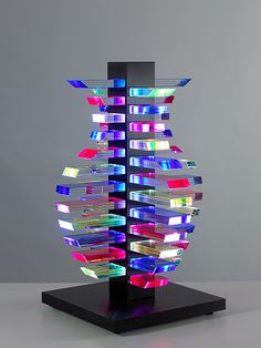 Architectural Light Vessel Glass Art by Sidney Hutter, 2011, Laminated, cut…