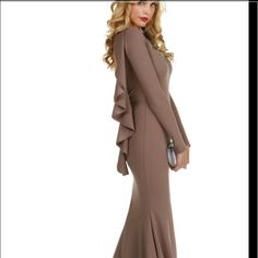 Brown long sleeve long dress :) only worn once WINDSOR Dresses Long Sleeve