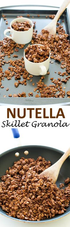 10-Minute Nutella Skillet Granola ~ sweet, super chocolatey and loaded with tons of big clusters | chefsavvy.com