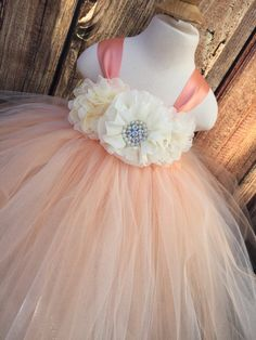 Peach and Ivory tulle dress with 3 chiffon flowers adorning the front -My dresses are made with 2 double layers of tulle. This means that it will