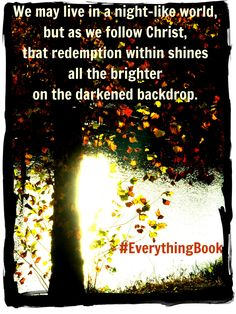God's redemption shines brighter on a dark canvas. Amen to that. From #Everythingbook.