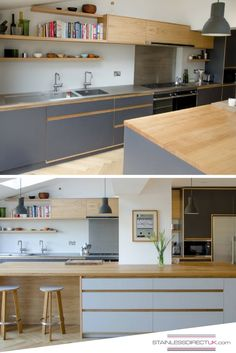 We like the colour combination with the greyish-blue of the cupboards, the light wood and the stainless steel worktop that brings in the little extra sparkle. Wooden Benchtop Kitchen, Plywood Kitchen, Best Kitchen Countertops, Wood Kitchen Island, Stainless Kitchen, Kitchen Cupboards, Stainless Steel Benchtop, Kitchen Worktops, Kitchen Peninsula