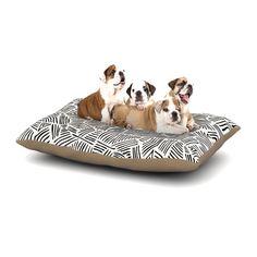 """Pom Graphic Design """"Inca Lines"""" Black Illustration Dog Bed"""