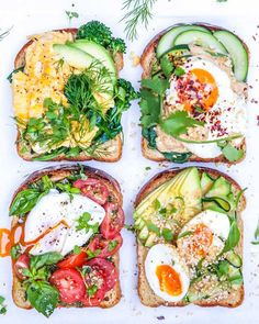 Italian, Aussie, Japanese, Indonesian—Egg Toppers 4 Ways - полезная еда - Egg Recipes Healthy Meal Prep, Healthy Breakfast Recipes, Healthy Snacks, Healthy Recipes, Poached Eggs On Toast, Egg On Toast, Clean Eating Snacks, Healthy Eating, Food Inspiration