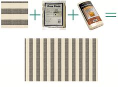 Cheap Rug. Living Room (anywhere). Upholstery fabric on a canvas drop cloth!