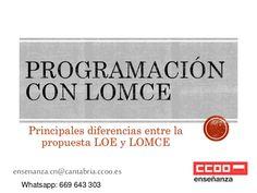 Principales diferencias entre la programación didáctica con loe y con lomce