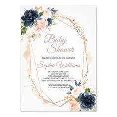 Shop Blush Pink and Navy Bridal Shower Invitation created by Super_Invitation. Personalize it with photos & text or purchase as is! Navy Bridal Shower, Chic Bridal Showers, Gold Baby Showers, Blush Bridal, Invitation Floral, Invitation Baby Shower, Beautiful Baby Shower, Beautiful Wedding Invitations, Rose