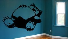 Snorlax would look super cute in my bedroom.  Pokemon Wall Decal Sticker Wall Art Vinyl Decal Nintendo Gamer on Etsy, $12.00