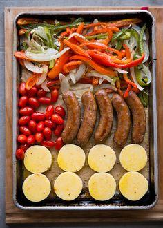 Sheet Pan Dinner: Polenta with Sausage and Peppers ⋆ Design Mom Sausage Recipes, Pork Recipes, Paleo Recipes, Cooking Recipes, Polenta, Pasta Dinner Recipes, Paleo Dinner, Sausage And Peppers, Stuffed Peppers