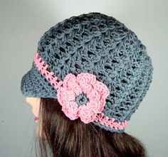 Visor Beanie Hat in Slate Gray and Coral Pink    $33