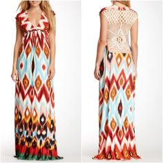 """Sky Multicolor Crochet Back Maxi Sky Multicolor Crochet Back MaxiDetails: - V-neck - Cap sleeves - Braided waist - Crochet back - Ikat print - Approx. 62"""" length - Made in USA Fiber Content: Shell: 94% rayon, 6% spandex Lining: 93% rayon, 7% spandex Care: Dry clean Sky Dresses Maxi"""