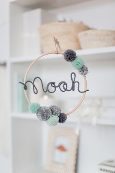 Dream Catcher & Mobiles - Name Circle with Pompoms Bommel Name Circle - a design . Dream Catchers & Mobiles - Name Circle with Pompoms Bommel Name Circle - a unique product by Momo-und-Carla on DaWan. Diy Baby Gifts, Diy Gifts For Kids, Diy For Kids, Baby Room Boy, Baby Room Decor, Baby Baby, Baby Presents, Presents For Girls, Mobiles