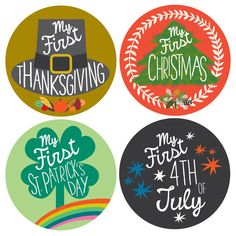 My First Holiday, Baby Milestone Stickers by Lucy Darling.