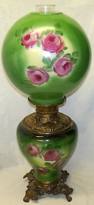 Old Antique Gone with The Wind GWTW Floral Design Milk Glass Oil Lamp   eBay