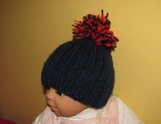 Pom Pom Hat for Baby Boy in Blue and Red by knittingstitches, $5.00