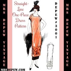 Sewing Pattern: 3001 Straight Line Dress by Mrs. Depew Vintage