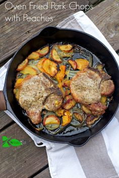 How to make Oven Fried Pork Chops with Peaches, first by brining pork chops to…