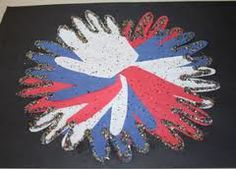 Hand Print Fireworks:  Cut out red white and blue hand prints for exploding fireworks! Glue and glitter sparkle