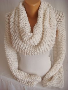 Hand Knitted Ecru Wrap Neckwarmer Scarf Shawl Bolero Shrug Shawl by Arzu's Style on Etsy, $65.00