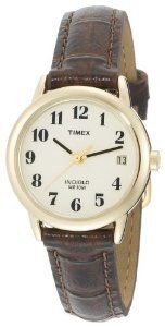#10: Timex Women's T20071 Easy Reader Brown Leather Watch.
