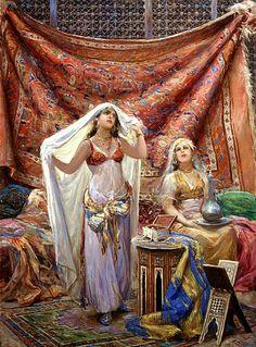 Gorgeous colors An Odalisque and her maid By Fabio Fabbi (Italian, Gypsy Girls, Arabian Art, Islamic Paintings, Academic Art, Italian Artist, Arabian Nights, North Africa, Beauty Art, Islamic Art