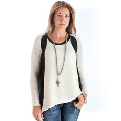 TRUE BLUE - Women's Balck and White Asymetrical Knit True Blue Sweater Top - NRSworld.com