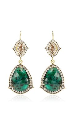 One of a Kind Emerald And Champagne Diamond Earrings by Sylva & Cie