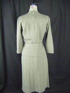 KIMS by Kimberly Knits Vtg 40s Grey Wool Sweater/Skirt/Belt-Bust 36/Waist 23-30 | eBay