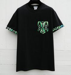 Men's Black and Green Tribal Pattern with Sleeves, Black Pocket T-Shirt, Men's…