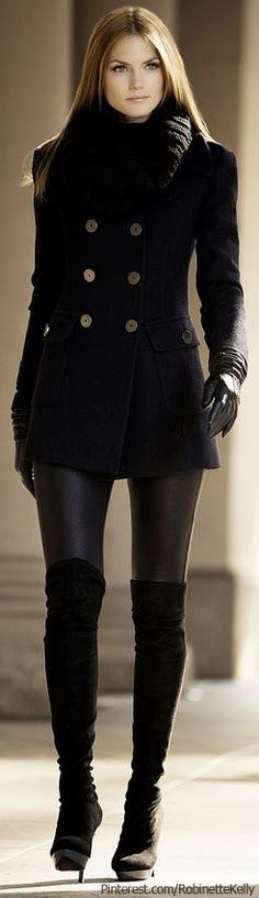 Gorgeous Button Pea Coat With Tights And Long Boots. Over the knee boots, high heel. Short mini coat dress, jacket, black gloves. Very sexy! Fashion Winter