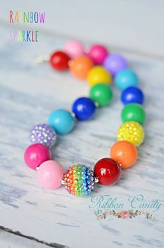 Rainbow Sparkle Chunky Necklace for Girls by CandyShoppeCuties, $21.00